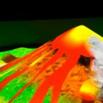 Интерактивная песочница извержение вулкана